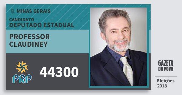 Santinho Professor Claudiney 44300 (PRP) Deputado Estadual | Minas Gerais | Eleições 2018