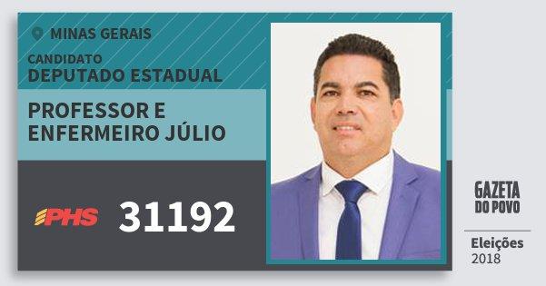 Santinho Professor e Enfermeiro Júlio 31192 (PHS) Deputado Estadual | Minas Gerais | Eleições 2018