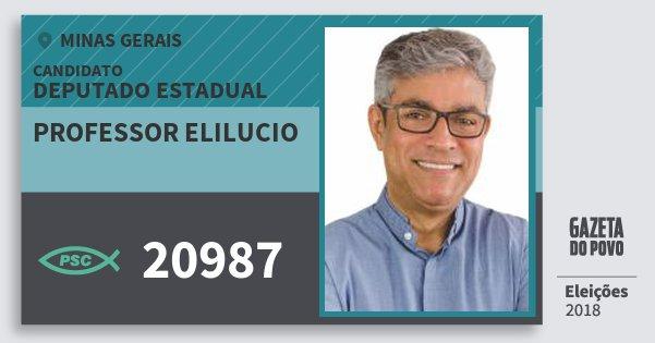 Santinho Professor Elilucio 20987 (PSC) Deputado Estadual | Minas Gerais | Eleições 2018