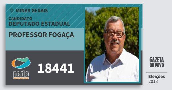 Santinho Professor Fogaça 18441 (REDE) Deputado Estadual | Minas Gerais | Eleições 2018