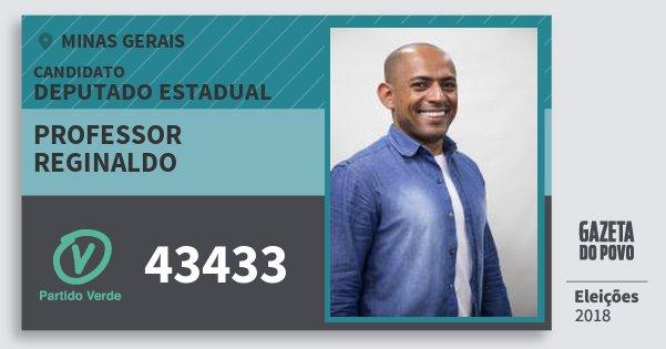 Santinho Professor Reginaldo 43433 (PV) Deputado Estadual | Minas Gerais | Eleições 2018