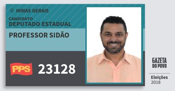 Santinho Professor Sidão 23128 (PPS) Deputado Estadual | Minas Gerais | Eleições 2018