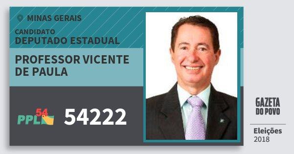 Santinho Professor Vicente de Paula 54222 (PPL) Deputado Estadual | Minas Gerais | Eleições 2018