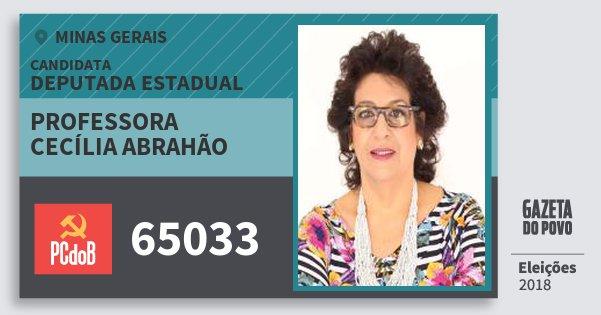 Santinho Professora Cecília Abrahão 65033 (PC do B) Deputada Estadual | Minas Gerais | Eleições 2018