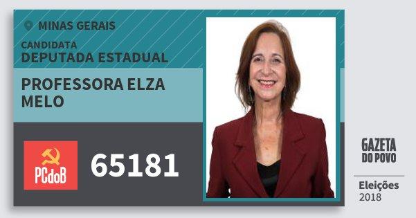 Santinho Professora Elza Melo 65181 (PC do B) Deputada Estadual   Minas Gerais   Eleições 2018