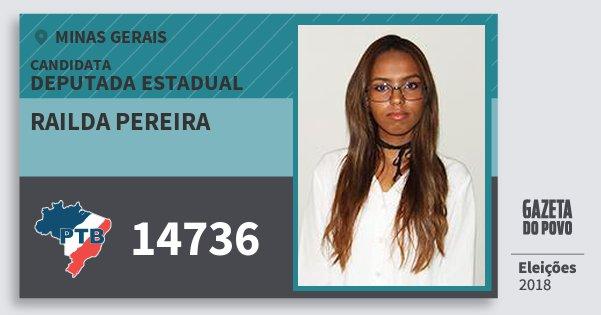 Santinho Railda Pereira 14736 (PTB) Deputada Estadual | Minas Gerais | Eleições 2018