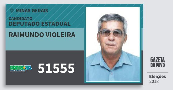 Santinho Raimundo Violeira 51555 (PATRI) Deputado Estadual | Minas Gerais | Eleições 2018