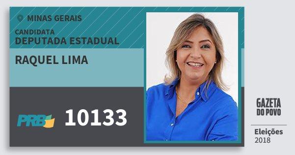 Santinho Raquel Lima 10133 (PRB) Deputada Estadual | Minas Gerais | Eleições 2018