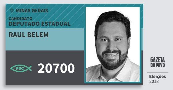 Santinho Raul Belem 20700 (PSC) Deputado Estadual | Minas Gerais | Eleições 2018