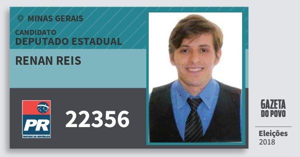 Santinho Renan Reis 22356 (PR) Deputado Estadual | Minas Gerais | Eleições 2018