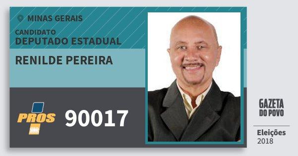 Santinho Renilde Pereira 90017 (PROS) Deputado Estadual   Minas Gerais   Eleições 2018
