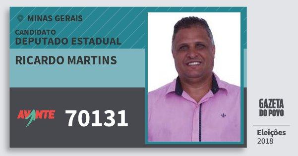 Santinho Ricardo Martins 70131 (AVANTE) Deputado Estadual | Minas Gerais | Eleições 2018