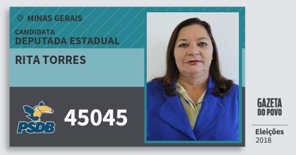 Santinho Rita Torres 45045 (PSDB) Deputada Estadual | Minas Gerais | Eleições 2018