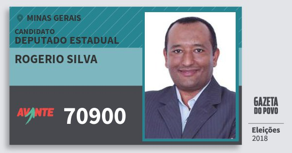 Santinho Rogerio Silva 70900 (AVANTE) Deputado Estadual | Minas Gerais | Eleições 2018