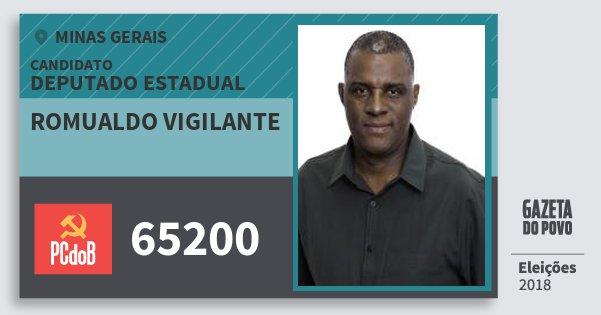 Santinho Romualdo Vigilante 65200 (PC do B) Deputado Estadual | Minas Gerais | Eleições 2018