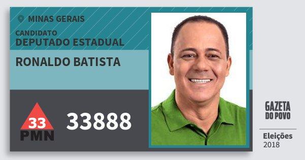 Santinho Ronaldo Batista 33888 (PMN) Deputado Estadual | Minas Gerais | Eleições 2018