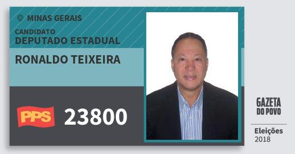 Santinho Ronaldo Teixeira 23800 (PPS) Deputado Estadual | Minas Gerais | Eleições 2018