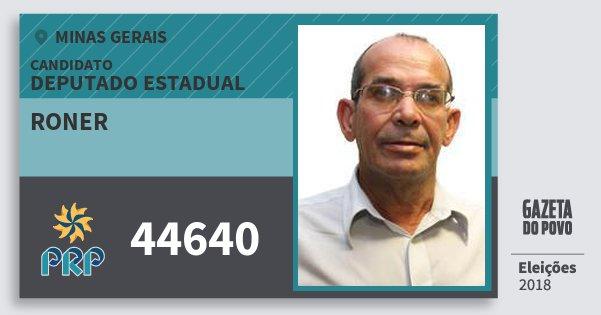 Santinho Roner 44640 (PRP) Deputado Estadual | Minas Gerais | Eleições 2018