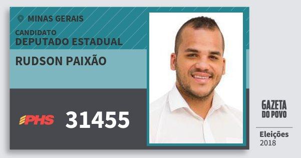 Santinho Rudson Paixão 31455 (PHS) Deputado Estadual   Minas Gerais   Eleições 2018