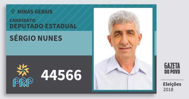 Santinho Sérgio Nunes 44566 (PRP) Deputado Estadual | Minas Gerais | Eleições 2018