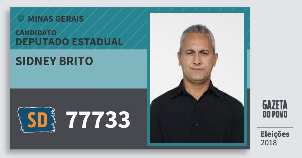 Santinho Sidney Brito 77733 (SOLIDARIEDADE) Deputado Estadual | Minas Gerais | Eleições 2018
