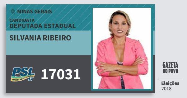 Santinho Silvania Ribeiro 17031 (PSL) Deputada Estadual   Minas Gerais   Eleições 2018