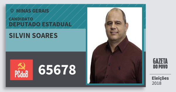 Santinho Silvin Soares 65678 (PC do B) Deputado Estadual | Minas Gerais | Eleições 2018