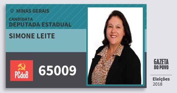 Santinho Simone Leite 65009 (PC do B) Deputada Estadual | Minas Gerais | Eleições 2018