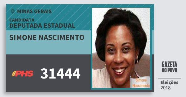 Santinho Simone Nascimento 31444 (PHS) Deputada Estadual | Minas Gerais | Eleições 2018