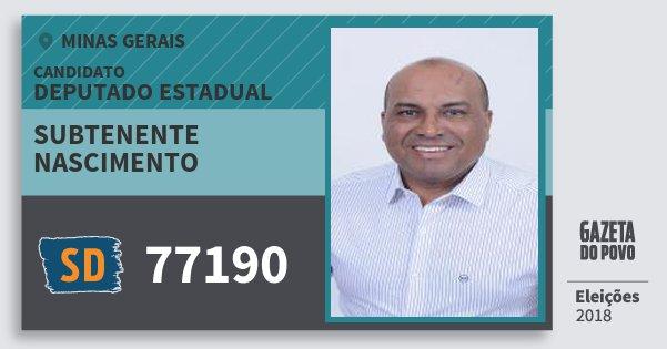 Santinho Subtenente Nascimento 77190 (SOLIDARIEDADE) Deputado Estadual | Minas Gerais | Eleições 2018