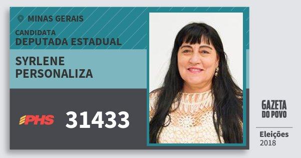 Santinho Syrlene Personaliza 31433 (PHS) Deputada Estadual   Minas Gerais   Eleições 2018