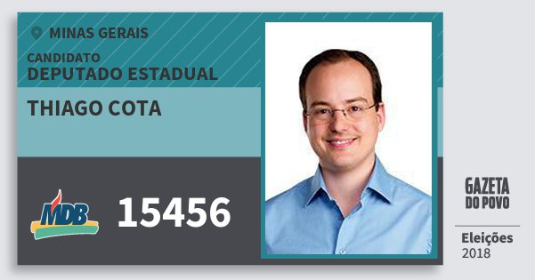 Santinho Thiago Cota 15456 (MDB) Deputado Estadual | Minas Gerais | Eleições 2018