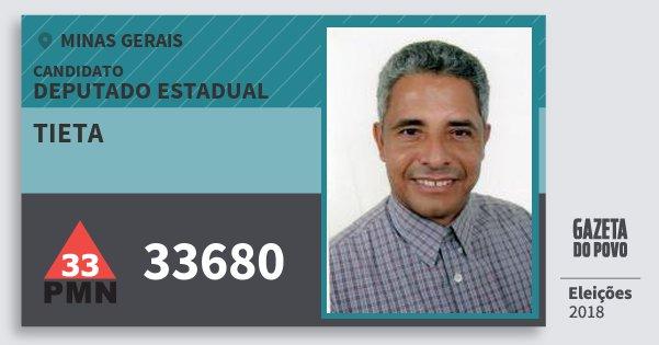 Santinho Tieta 33680 (PMN) Deputado Estadual | Minas Gerais | Eleições 2018