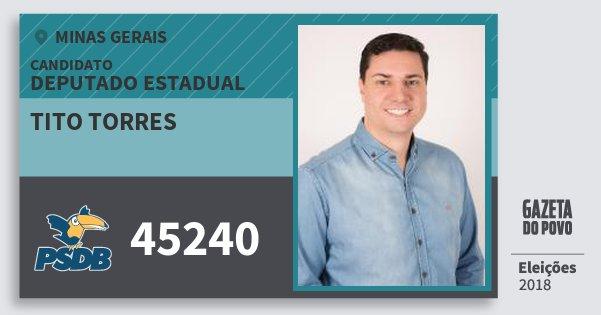 Santinho Tito Torres 45240 (PSDB) Deputado Estadual | Minas Gerais | Eleições 2018