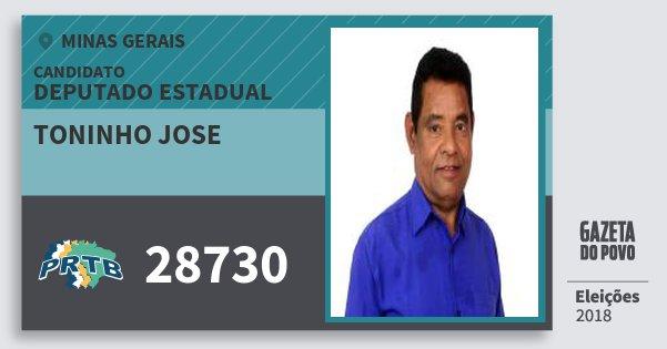 Santinho Toninho Jose 28730 (PRTB) Deputado Estadual | Minas Gerais | Eleições 2018