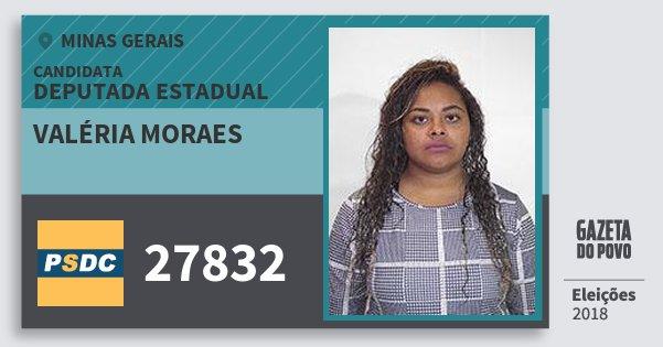 Santinho Valéria Moraes 27832 (DC) Deputada Estadual | Minas Gerais | Eleições 2018
