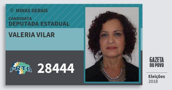 Santinho Valeria Vilar 28444 (PRTB) Deputada Estadual   Minas Gerais   Eleições 2018