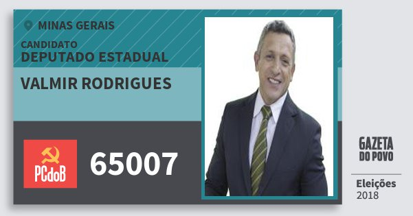 Santinho Valmir Rodrigues 65007 (PC do B) Deputado Estadual | Minas Gerais | Eleições 2018
