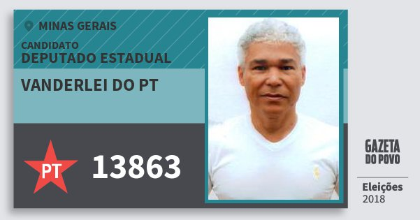 Santinho Vanderlei do Pt 13863 (PT) Deputado Estadual   Minas Gerais   Eleições 2018