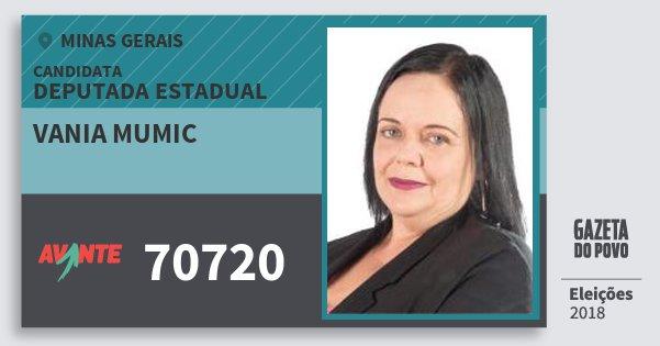 Santinho Vania Mumic 70720 (AVANTE) Deputada Estadual | Minas Gerais | Eleições 2018