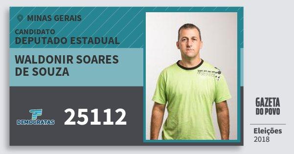 Santinho Waldonir Soares de Souza 25112 (DEM) Deputado Estadual | Minas Gerais | Eleições 2018