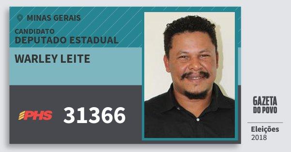 Santinho Warley Leite 31366 (PHS) Deputado Estadual | Minas Gerais | Eleições 2018