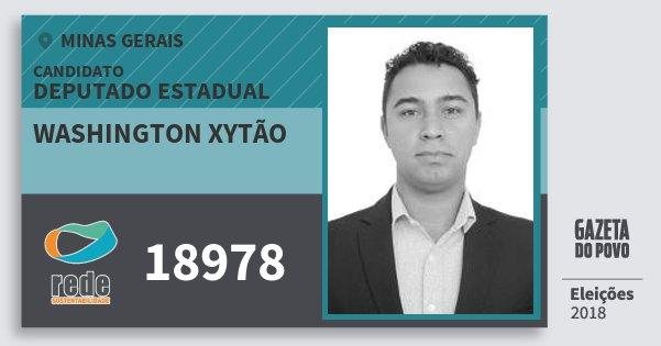 Santinho Washington Xytão 18978 (REDE) Deputado Estadual | Minas Gerais | Eleições 2018