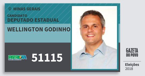 Santinho Wellington Godinho 51115 (PATRI) Deputado Estadual | Minas Gerais | Eleições 2018