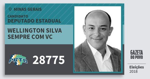 Santinho Wellington Silva Sempre Com Vc 28775 (PRTB) Deputado Estadual | Minas Gerais | Eleições 2018