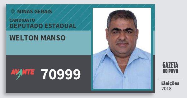 Santinho Welton Manso 70999 (AVANTE) Deputado Estadual | Minas Gerais | Eleições 2018