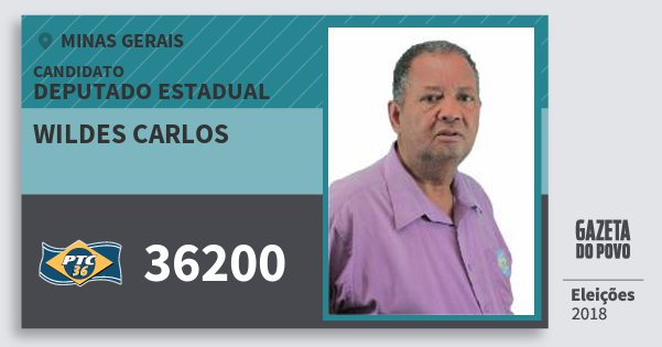 Santinho Wildes Carlos 36200 (PTC) Deputado Estadual | Minas Gerais | Eleições 2018
