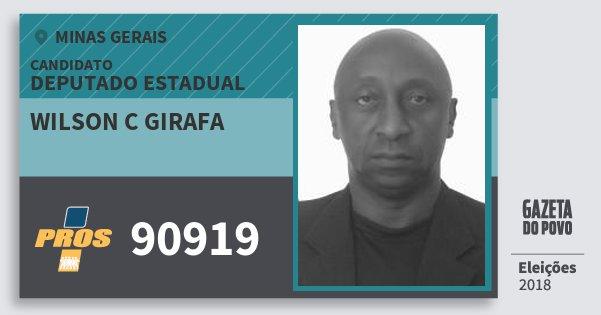 Santinho Wilson C Girafa 90919 (PROS) Deputado Estadual | Minas Gerais | Eleições 2018