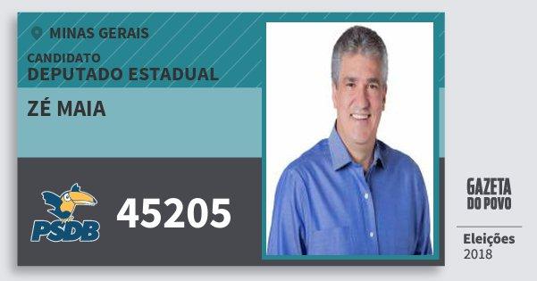 Santinho Zé Maia 45205 (PSDB) Deputado Estadual | Minas Gerais | Eleições 2018
