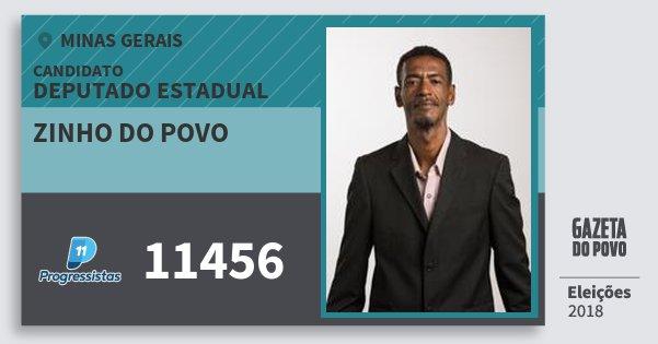 Santinho Zinho do Povo 11456 (PP) Deputado Estadual | Minas Gerais | Eleições 2018